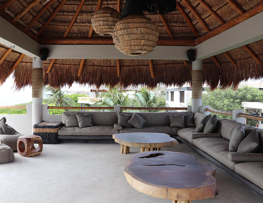 rooftop palapa ocean views lounge area