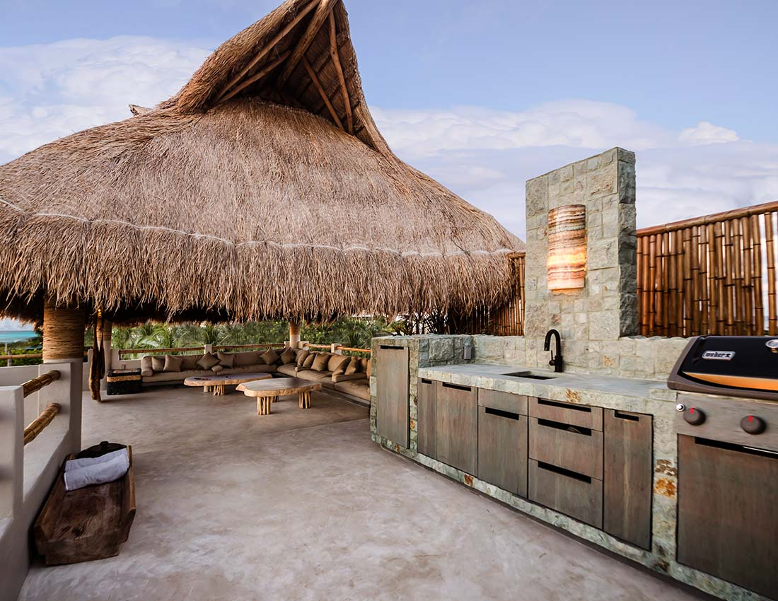 rooftop palapa outdoor kitchen grill