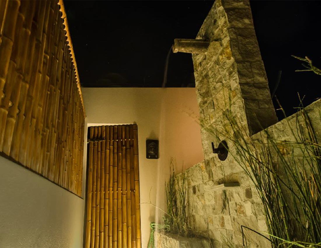 outdoor shower evening casa kamala isla mujeres