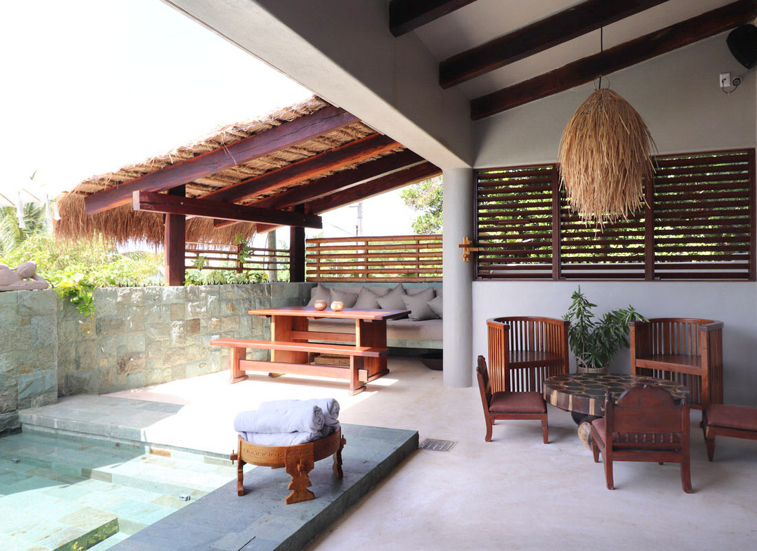 casa kamala pool lounge area
